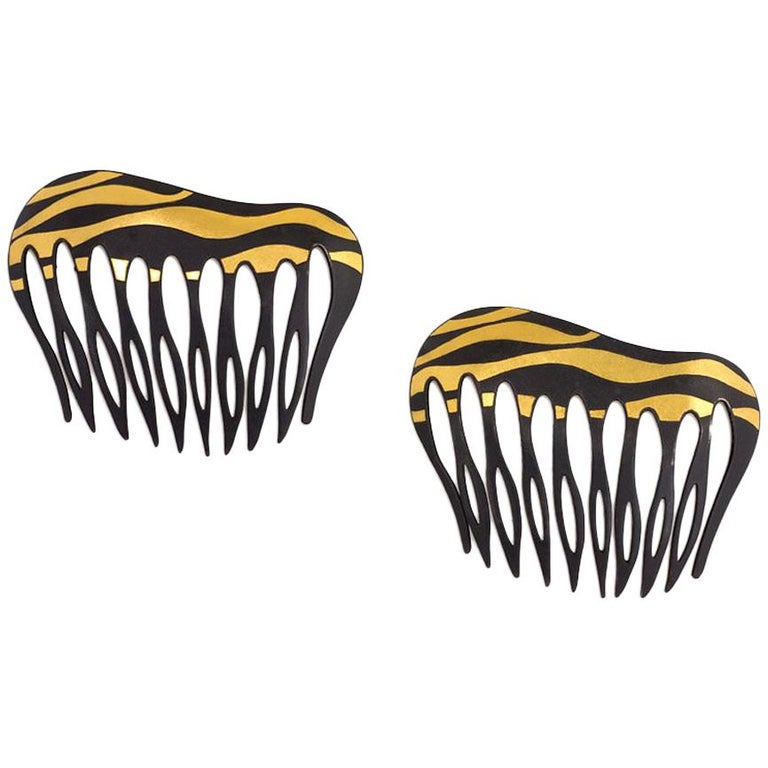Angela Cummings for Tiffany & Co. Damascene Lacquered Iron and Gold Hair Combs For Sale