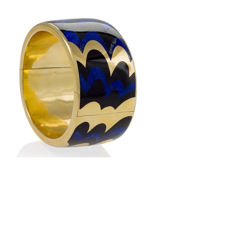 Angela Cummings for Tiffany & Co. Gold, Lapis Lazuli and Black Jade Bangle In Excellent Condition For Sale In New York, NY