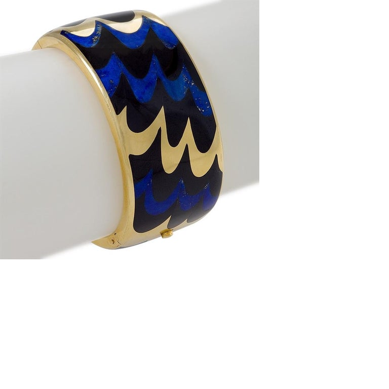 Women's Angela Cummings for Tiffany & Co. Gold, Lapis Lazuli and Black Jade Bangle For Sale