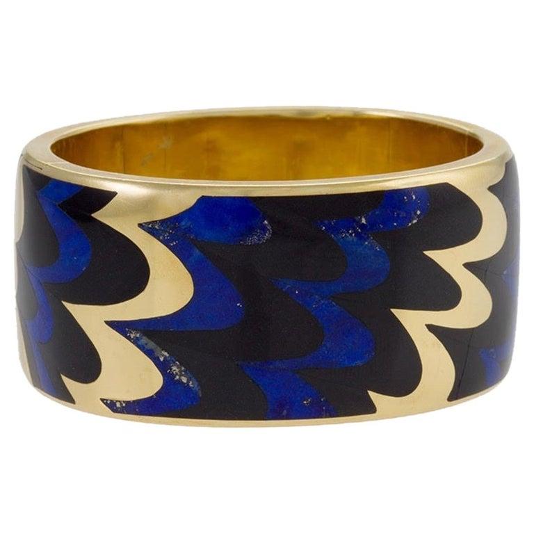 Angela Cummings for Tiffany & Co. Gold, Lapis Lazuli and Black Jade Bangle For Sale