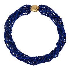 Angela Cummings for Tiffany & Co. Lapis and Gold Bead Torsade Necklace