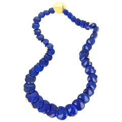 Angela Cummings for Tiffany & Co. Lapis Lazuli 'Lentil' Yellow Gold Necklace