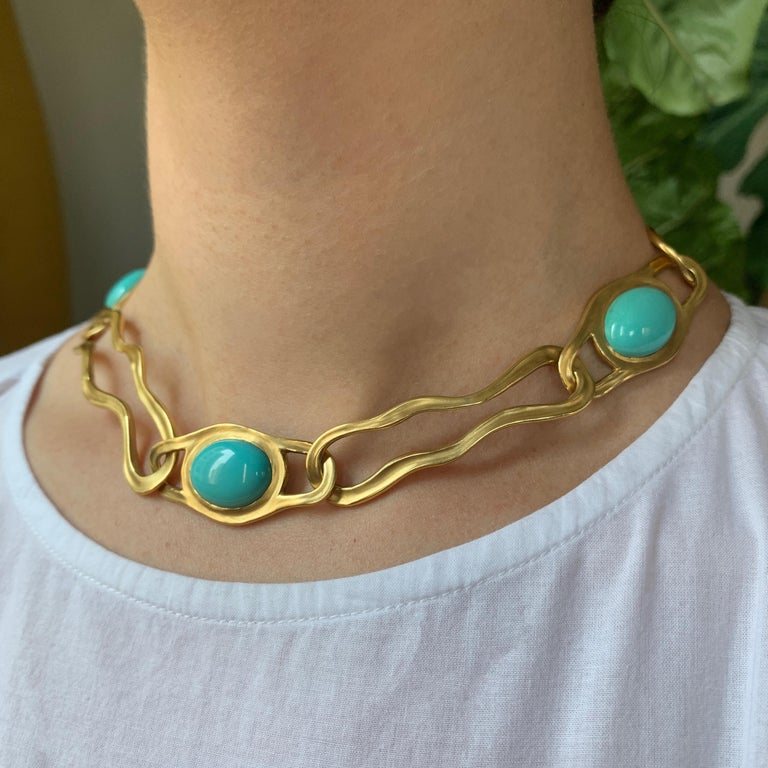 Modern 1982 Angela Cummings for Tiffany & Co. Turquoise and Gold Link Necklace