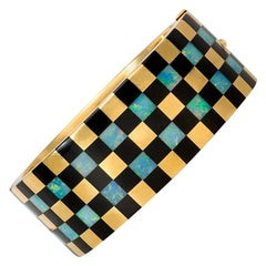 Angela Cummings for Tiffany Gold and Inlaid Opal and Jade Checkered Bracelet