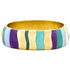 Angela Cummings for Tiffany Inlaid Stone Gold Bangle Bracelet