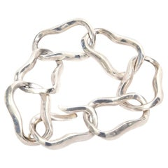 Angela Cummings For Tiffany Sterling Silver Modernist Sculptural Link Bracelet