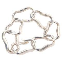 Angela Cummings For Tiffany Sterling Silver Modernist Sculptural Link Bracelet