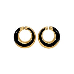 Angela Cummings Gold and Black Jade Hoop Earrings