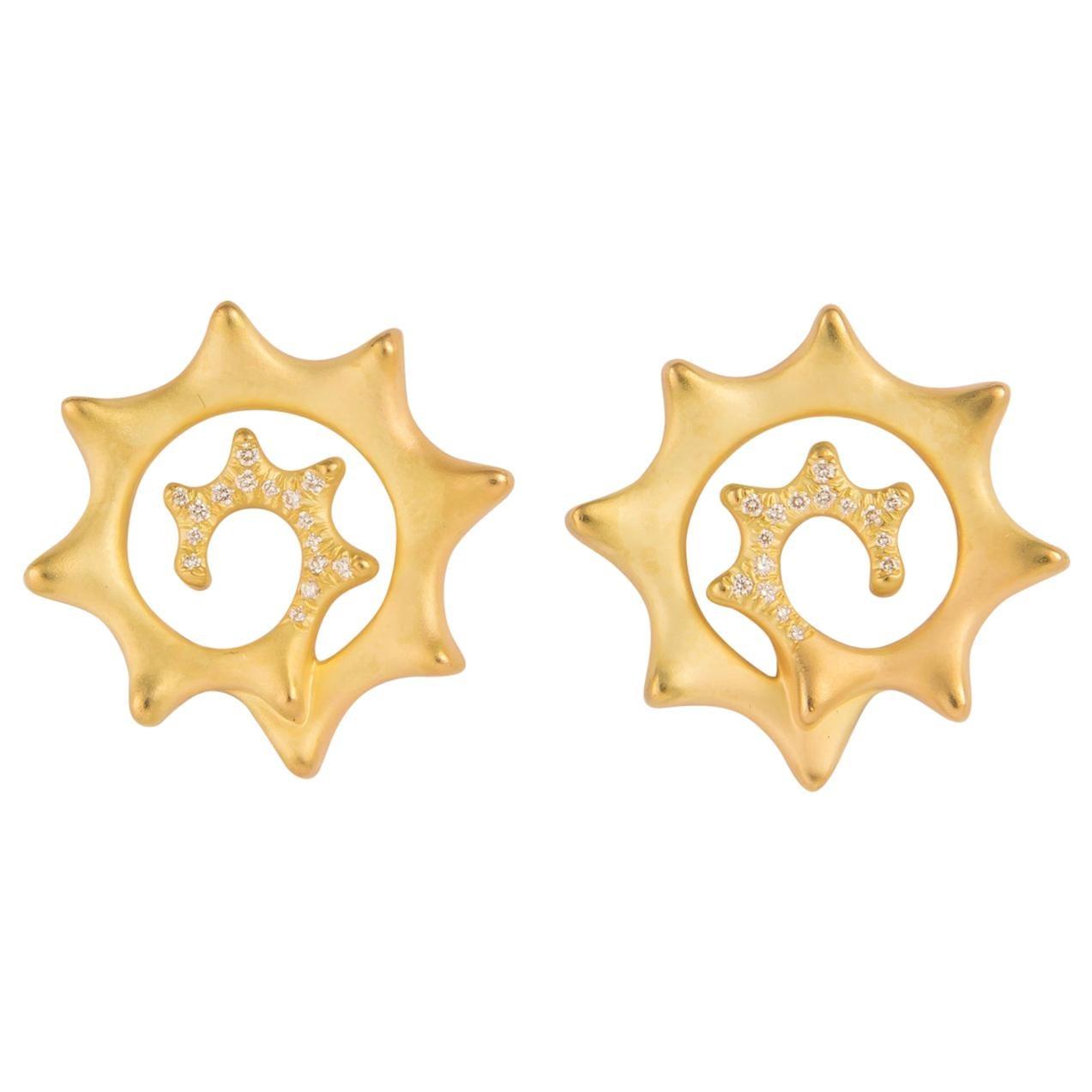 Angela Cummings Gold and Diamond Earrings