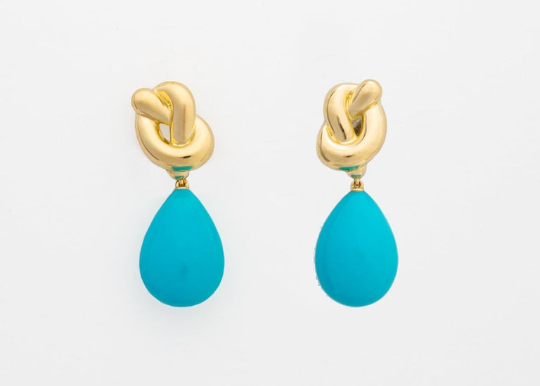 Contemporary Angela Cummings Gold and Turquoise Drop Earrings For Sale