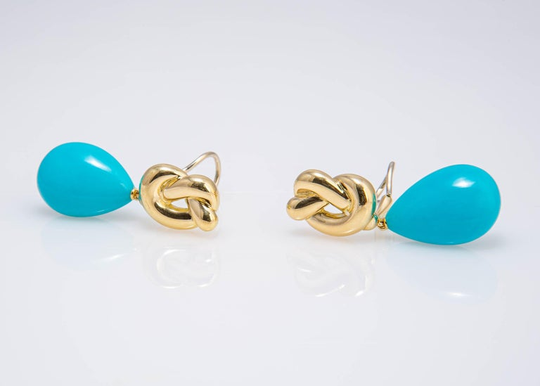 Pear Cut Angela Cummings Gold and Turquoise Drop Earrings For Sale