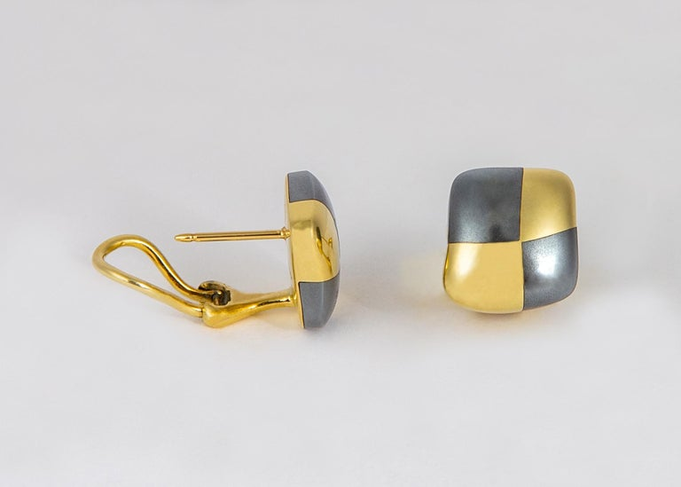 Contemporary Angela Cummings Hematite and Gold Checkerboard Earrings For Sale