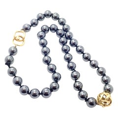 Angela Cummings Hematite Bead Yellow Gold Necklace