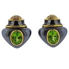 Angela Cummings Hematite Black Jade Peridot Gold Diamond Earrings
