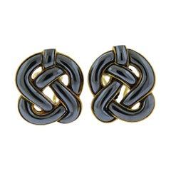 Angela Cummings Hematite Gold Celtic Knot Earrings