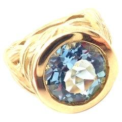 Angela Cummings Large Aquamarine Yellow Gold Ring