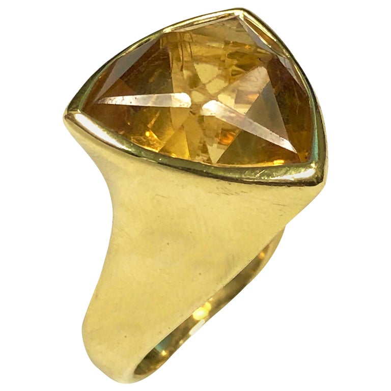 Angela Cummings Large Yellow Gold and Citrine Ring For Sale