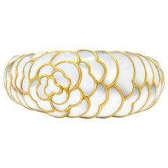 Angela Cummings Mother of Pearl 18 Karat Gold Floral Bangle Bracelet