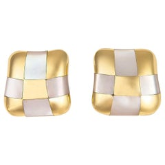 Angela Cummings Mother of Pearl and Gold Checkerboard Earrings