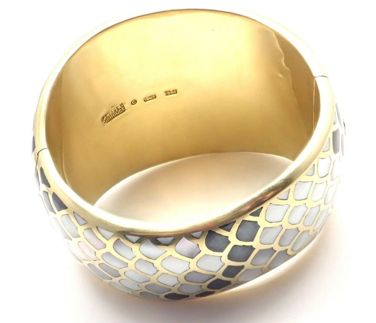 Angela Cummings Mother of Pearl Snakeskin Yellow Gold Wide Bangle Bracelet For Sale 1