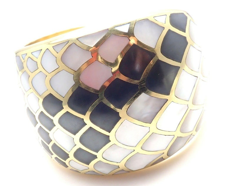 Angela Cummings Mother of Pearl Snakeskin Yellow Gold Wide Bangle Bracelet For Sale 3