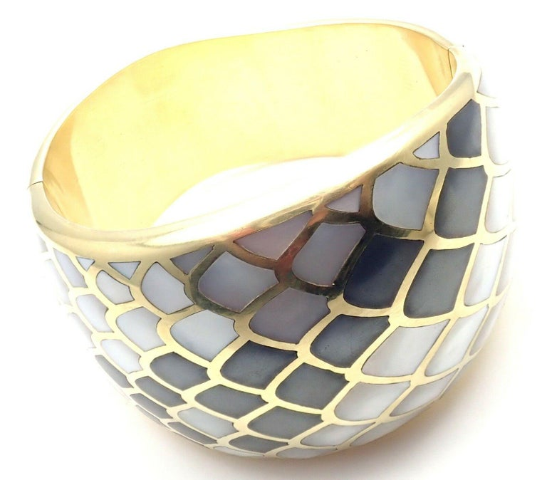 Angela Cummings Mother of Pearl Snakeskin Yellow Gold Wide Bangle Bracelet For Sale 4