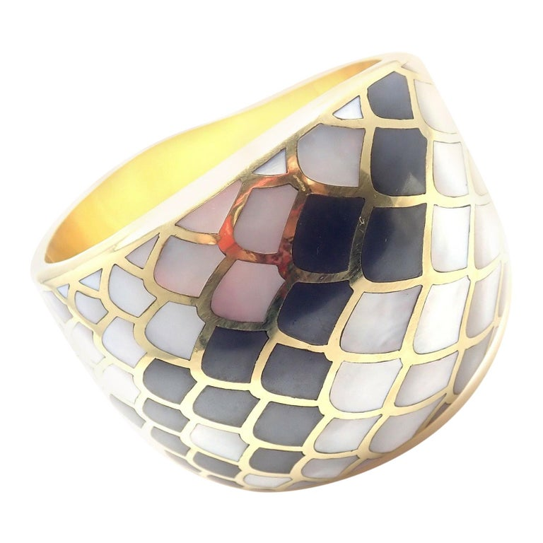 Angela Cummings Mother of Pearl Snakeskin Yellow Gold Wide Bangle Bracelet For Sale
