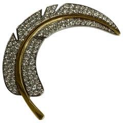 Angela Cummings Platinum and 18 Karat Diamond Feather Pin