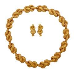 Angela Cummings Pretzel Knot Gold Necklace Earrings Suite