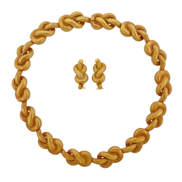 Angela Cummings Pretzel Knot Gold Necklace Earrings Suite For Sale