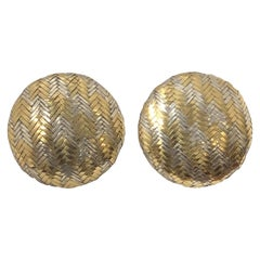 Angela Cummings Silver and Gold Woven Large Button Earrings