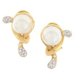Angela Cummings South Sea Pearl Diamond Knot Earrings
