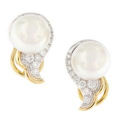 Angela Cummings South Sea Pearl Diamond Scroll Earrings