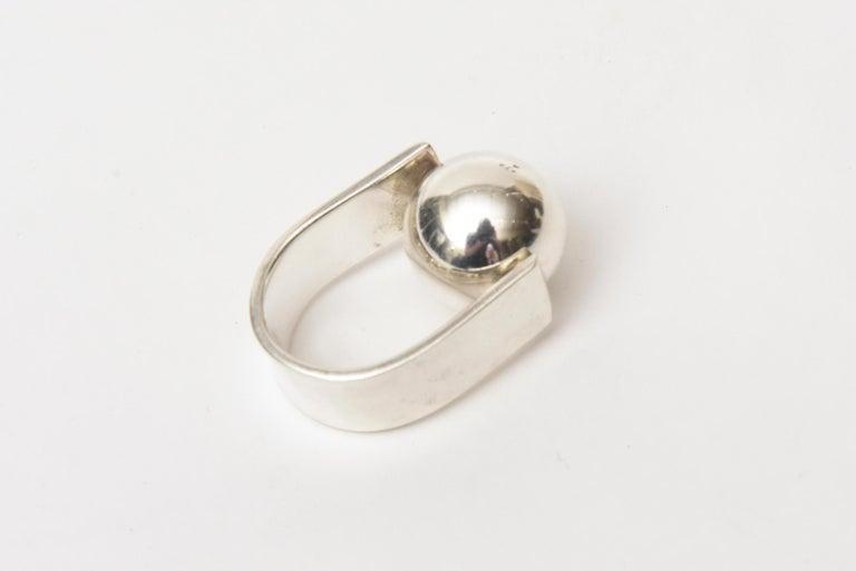 Modern Angela Cummings Sterling Silver Sculptural Ball Ring Vintage For Sale