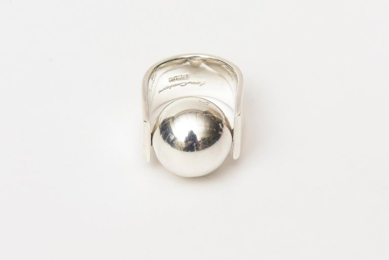 Women's Angela Cummings Sterling Silver Sculptural Ball Ring Vintage For Sale