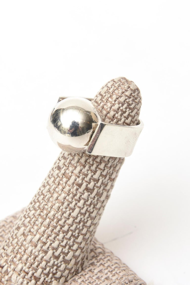 Angela Cummings Sterling Silver Sculptural Ball Ring Vintage For Sale 2