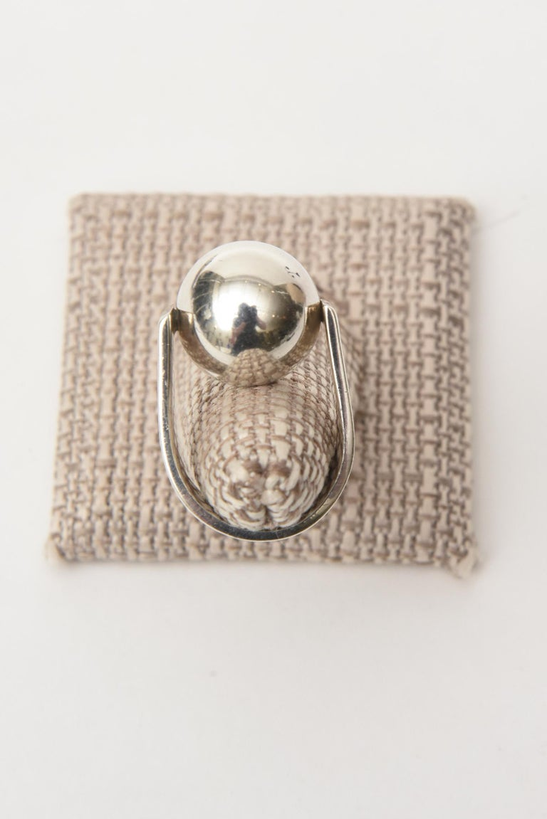 Angela Cummings Sterling Silver Sculptural Ball Ring Vintage For Sale 3