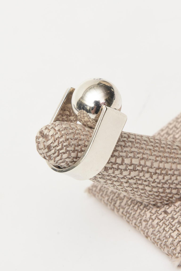 Angela Cummings Sterling Silver Sculptural Ball Ring Vintage For Sale 4