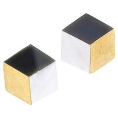 Angela Cummings Three Dimension Cube Yellow Gold Stud Earrings