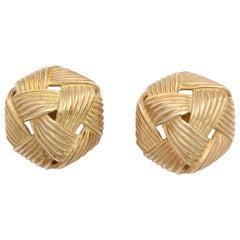 Angela Cummings Three Dimensional Basket Weave Pierced Earrings