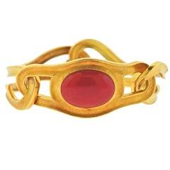 Angela Cummings Tiffany & Co. 1980s Coral Gold Bangle Bracelet