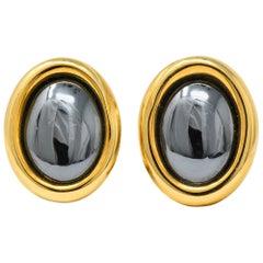 Angela Cummings Tiffany & Co. Hematite 18 Karat Gold Ear-Clips Earrings