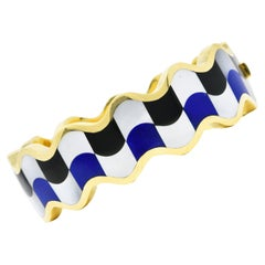 Angela Cummings Tiffany & Co. Onyx Lapis Pearl 18 Karat Gold Wave Bracelet