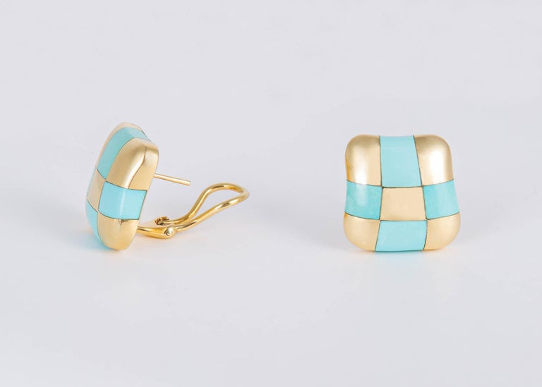 Contemporary Angela Cummings Turquoise and Gold Checker Board Earrings For Sale