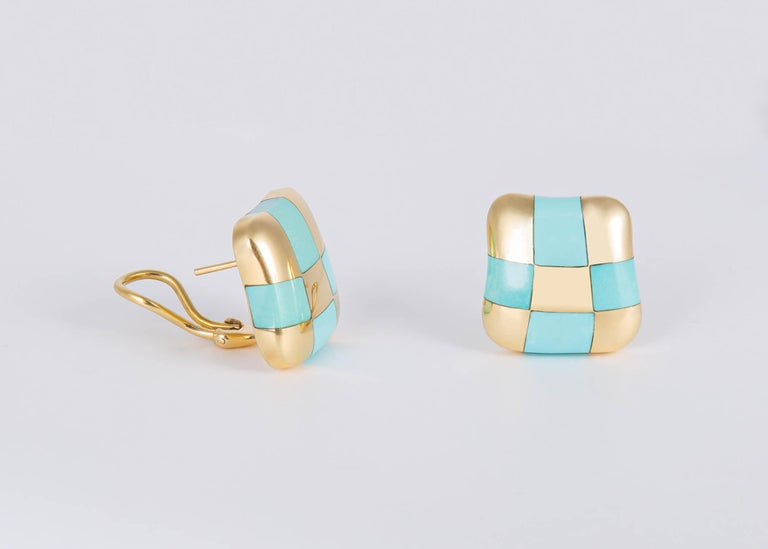 Square Cut Angela Cummings Turquoise and Gold Checker Board Earrings For Sale