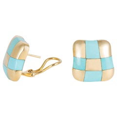 Angela Cummings Turquoise and Gold Checker Board Earrings