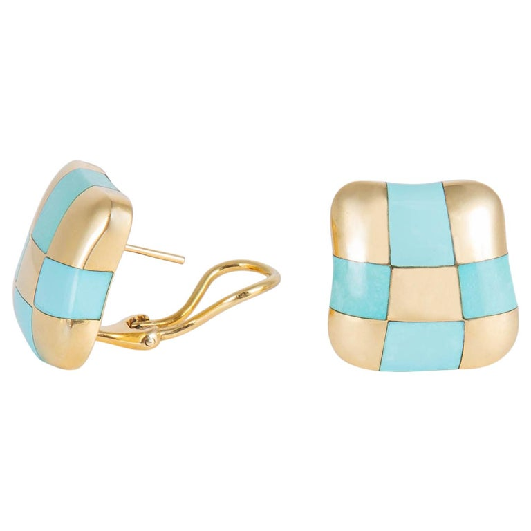 Angela Cummings Turquoise and Gold Checker Board Earrings For Sale