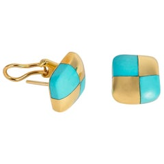 Angela Cummings Turquoise and Gold Checkerboard Earrings