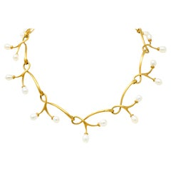 Angela Cummings Vintage Pearl 18 Karat Gold Vine Link Collar Necklace 2002