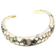 Angela Cummings White and Green Mother of Pearl Snakeskin Gold Collar Necklace